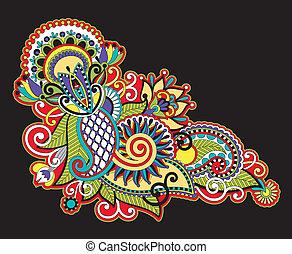 Hand draw line art ornate flower design. Ukrainian...