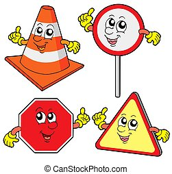 Cute road signs collection - isolated illustration.