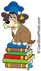 Dog teacher on pile of books