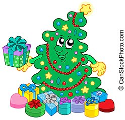 Happy Christmas tree with gifts - isolated illustration