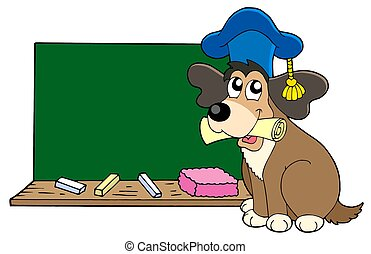 Dog teacher with blackboard - isolated illustration.