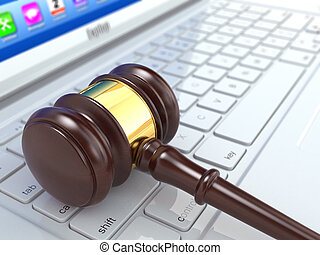 Online judgement. Gavel on laptop. 3d - Online judgement....