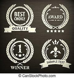 Set of laurel wreath emblem on black - Laurel wreath emblem,...