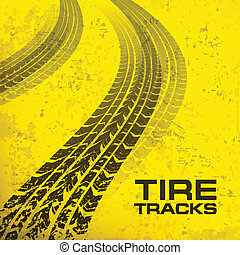 Tire tracks on yellow - Detail black tire tracks on yellow,...