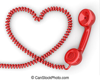 Phone reciever and cord as heart Love hotline concept 3d