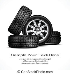 Car wheels - Car black new wheels on white background,...