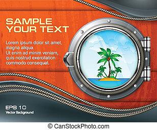 Porthole seascape with palm