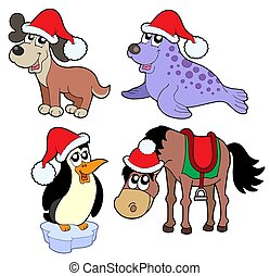 Christmas animals collection - isolated illustration
