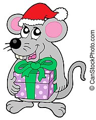 Christmas mouse with gift - isolated illustration.