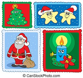 Christmas post stamps collection 2 - isolated illustration.