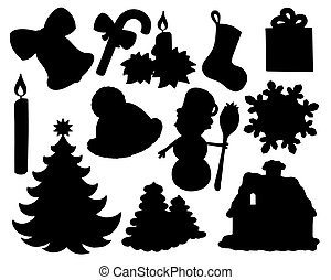 Christmas silhouette collection 02 - isolated illustration.
