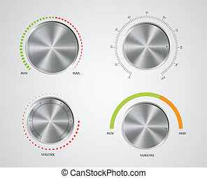 Control knobs set - Set of the detailed control knobs in...