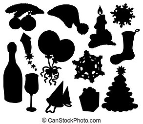 Christmas silhouette collection 03 - isolated illustration.