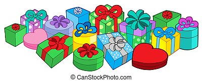 Lots of gifts - isolated illustration.