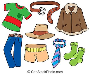 Man clothes collection - isolated illustration.