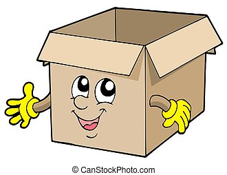 Open cute cardboard box - isolated illustration