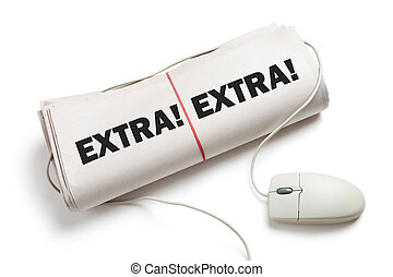 News Extra, Computer mouse and Newspaper Roll with white...
