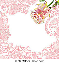 ornate floral pattern with pink watercolor rose - hand draw...