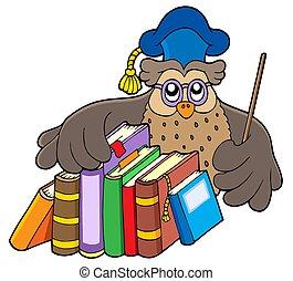 Owl teacher holding books - isolated illustration.