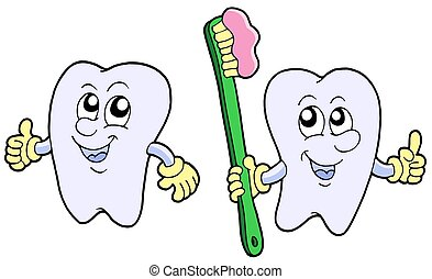 Pair of cartoon teeth - isolated illustration.