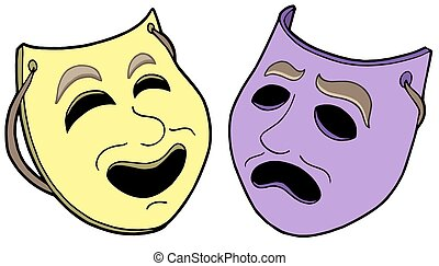 Pair of theatre masks - isolated illustration.