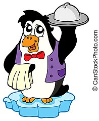 Penguin waiter on icebeg - isolated illustration.