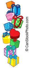 Pile of Christmas gifts - isolated illustration.