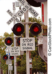 Railroad Crossing Signal - Flashing lights of track and road...