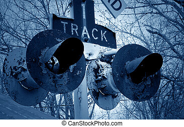 Rail Crossing Signals - Flashing lights of track and road...