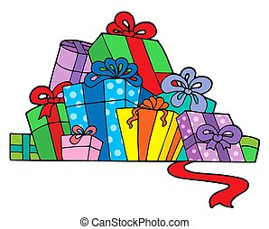 Pile of various gifts - isolated illustration.