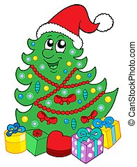 Smiling Christmas tree with gifts - Santa Christmas tree...