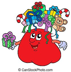 Santas bag with gifts isolated - isolated illustration.