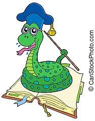 Snake teacher in open book