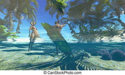 Beautiful underwater view - Underwater view of young couple...