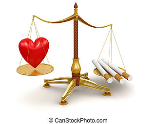 Justice Balance with Cigarettes and Heart. Image with...