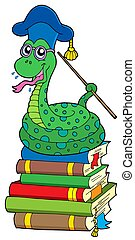 Snake teacher on pile of books - isolated illustration.