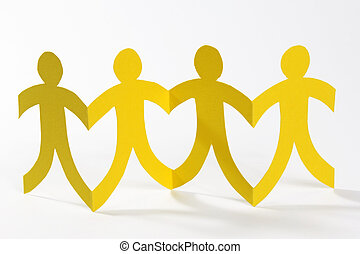 yellow paper people in a row