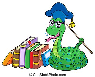 Snake teacher with books - isolated illustration