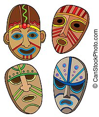 Tribal masks collection - isolated illustration.