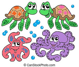 Various cute sea animals collection