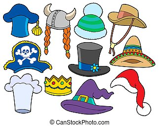 Various hats collection - isolated illustration.