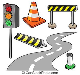 Various road objects - isolated illustration.