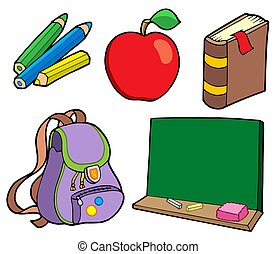 Various school items - isolated illustration.