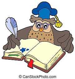 Writing owl teacher - isolated illustration.