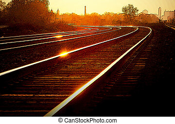 Sunset Railroad Tracks - Sunset or rise over Detroit area...
