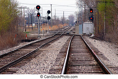 Railroad Tracks - Main line train track switches and yard