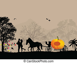Pumpkin carriage and lovers at on beautiful landscape,...