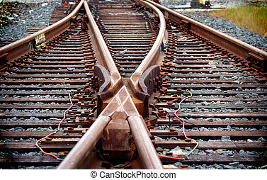 Railroad Tracks - Main line train track switches and yard