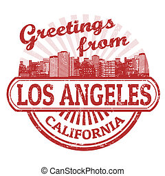 Greetings from Los Angeles stamp - Grunge rubber stamp with...