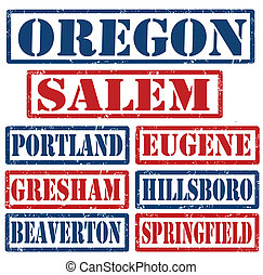 Oregon Cities stamps - Set of Oregon cities stamps on white...